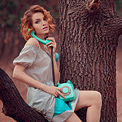 """Одежда ручной работы. Ярмарка Мастеров - ручная работа Платье """"Бирюзовый горошек"""".. Handmade."""
