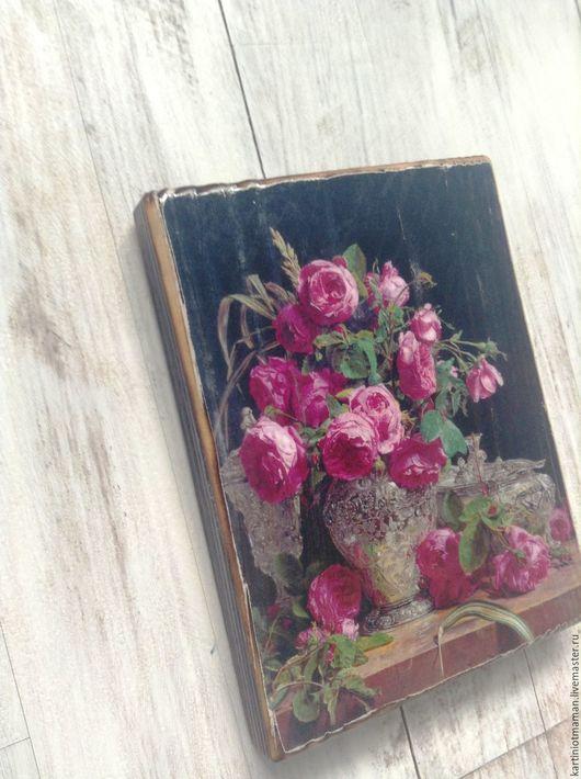 Картины цветов ручной работы. Ярмарка Мастеров - ручная работа. Купить Розы. Handmade. Фуксия, букет цветов, картина с розами