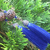 Украшения handmade. Livemaster - original item Earrings tassels Indigo Sapphires. Handmade.