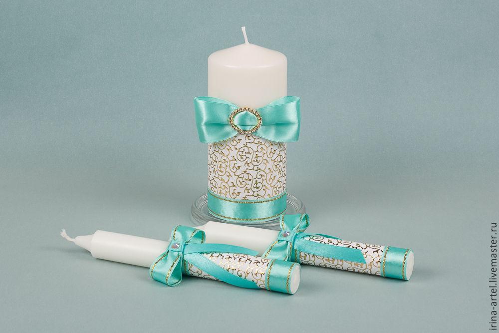 Свечи на свадьбу своими руками бирюзовые 22