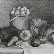 Картины и панно handmade. Livemaster - original item Still life with vegetables. graphics. Handmade.