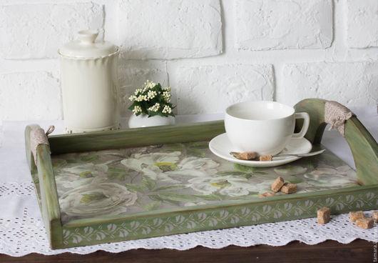 """Кухня ручной работы. Ярмарка Мастеров - ручная работа. Купить Поднос """"Семейное чаепитие"""". Handmade. Зеленый, весна, чаепитие, большой поднос"""
