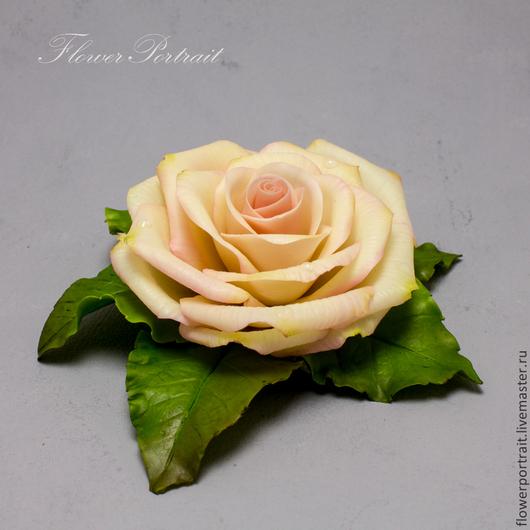 Броши ручной работы. Ярмарка Мастеров - ручная работа. Купить Броши/заколки с розами из полимерной глины. Handmade. Бежевый, полимерная глина