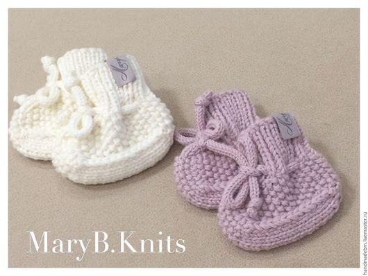 Для новорожденных, ручной работы. Ярмарка Мастеров - ручная работа. Купить Пинеточки-носочки MaryB.Knits. Handmade. Бледно-розовый
