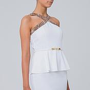 Одежда ручной работы. Ярмарка Мастеров - ручная работа Платье коктейльное белое, нарядное, платье на выход. Handmade.