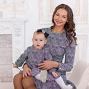 Одежда ручной работы. Ярмарка Мастеров - ручная работа Платье Серебро комплект для мамы и дочки. Handmade.