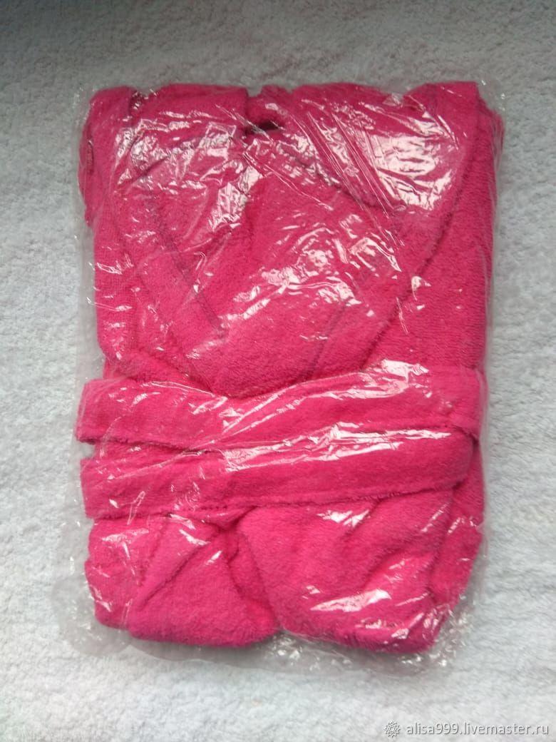 Махровый халат на 4-6 лет ярко-розовый, Футболки и топы, Москва,  Фото №1