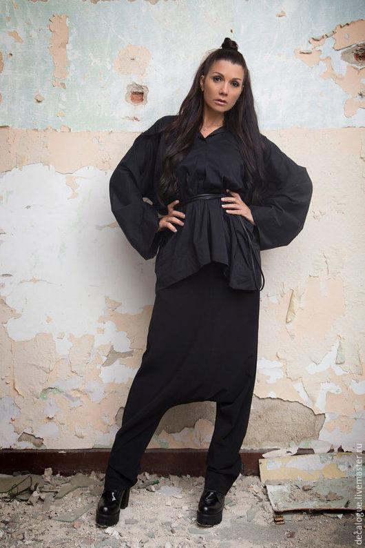 """Блузки ручной работы. Ярмарка Мастеров - ручная работа. Купить Рубашка """"KIMONO"""". Handmade. Черный, свободный крой, хлопковая ткань"""