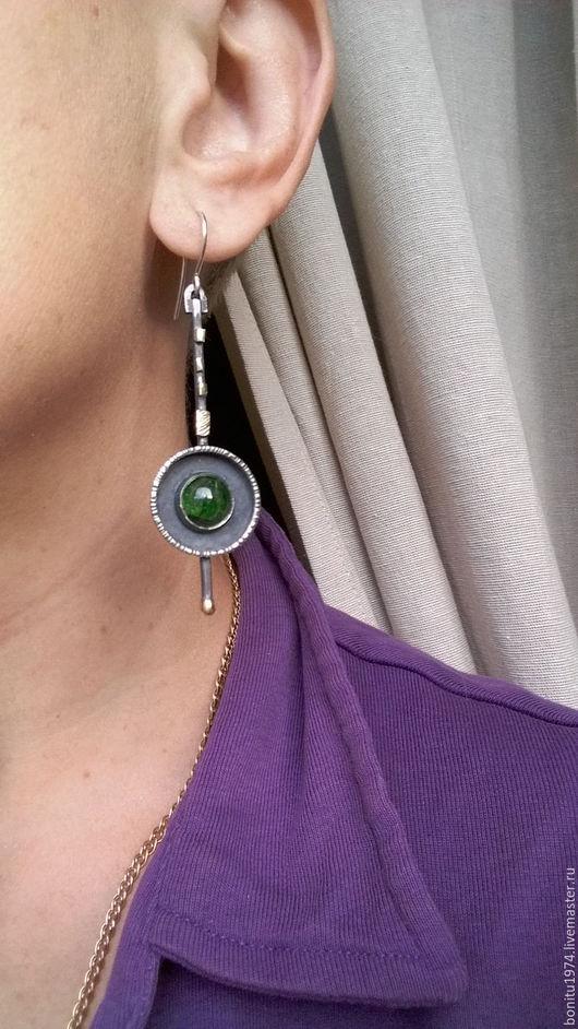 """Серьги ручной работы. Ярмарка Мастеров - ручная работа. Купить Серьги серебряные """"Зеленый островок"""". Handmade. Тёмно-зелёный, подарок"""