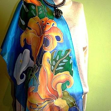 """Аксессуары handmade. Livemaster - original item Scarve """"Lilies"""". Handmade."""