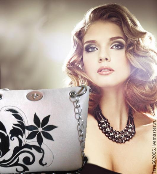 Женская сумка, кожаная сумка,  сумка с аппликацией, черно-белая сумка, летняя сумка, сумка ручной работы, сумка с декором,  сумка через плечо, сумка из натуральной кожи,  сделать на заказ, Lara&Ko