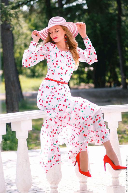 """Платья ручной работы. Ярмарка Мастеров - ручная работа. Купить Платье """"Вишневое настроение"""". Handmade. Комбинированный, летящее платье"""