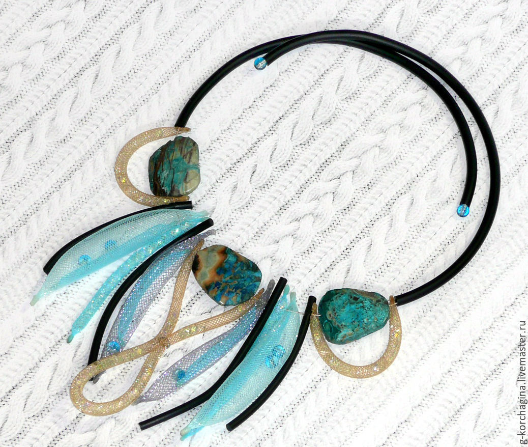 Necklaces & Beads handmade. Livemaster - handmade. Buy Necklace-choker with mesh and ocean Jasper 'the Road to the sea' grey-blue.