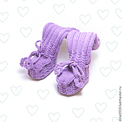 Работы для детей, handmade. Livemaster - original item lingopad for girls, knitted booties, purple. Handmade.