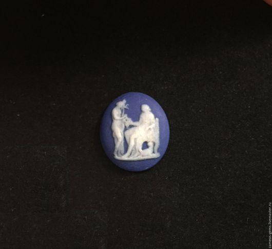 Кольца ручной работы. Ярмарка Мастеров - ручная работа. Купить Фарфоровая камея Wedgwood. Handmade. Тёмно-синий, синяя камея