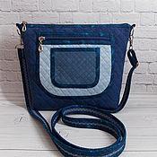 Сумки и аксессуары handmade. Livemaster - original item Eco-suede Bag, With Pocket, Blue, Ethno, Quilted. Handmade.