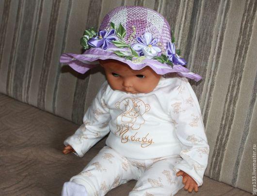 Шапки и шарфы ручной работы. Ярмарка Мастеров - ручная работа. Купить Летняя шляпка Орхидеи. Handmade. Сиреневый, шляпка для девочки