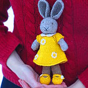 """Куклы и игрушки ручной работы. Ярмарка Мастеров - ручная работа Мастер класс  """"Зайка в жёлтом платье"""" вязанная. Handmade."""