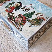"""Подарки к праздникам ручной работы. Ярмарка Мастеров - ручная работа Шкатулка новогодняя """"Зимние забавы"""", подарок, упаковка, сувенир. Handmade."""