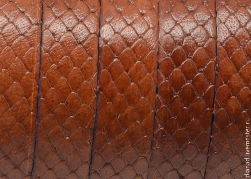 Кожаный шнур 10 мм коричнево-рыжий, под рептилию, Шнуры, Москва, Фото №1