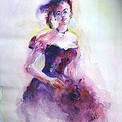 """Картины ручной работы. Ярмарка Мастеров - ручная работа Акварельный портрет  """"Леди в фиолетовом платье"""". Handmade."""