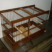 Для домашних животных, ручной работы. Ярмарка Мастеров - ручная работа Клетка темный дуб оцинкованные прутья. Handmade.