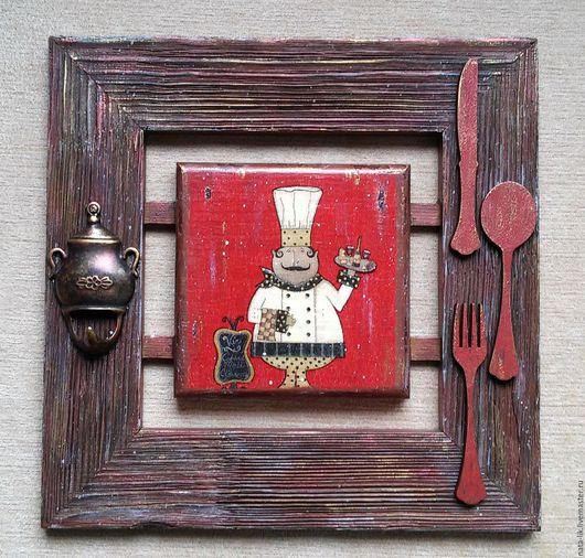 """Кухня ручной работы. Ярмарка Мастеров - ручная работа. Купить Панно """"Повар-2"""". Handmade. Брашировка, авторская ручная работа"""