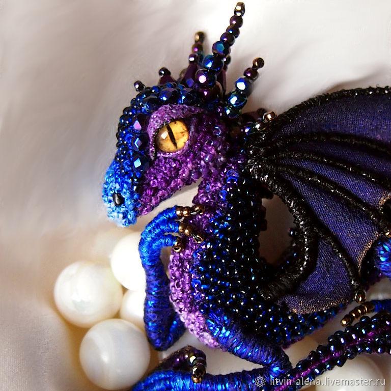 """Брошь дракон """"Лейла"""". Брошь бисер. Сине-фиолетовый дракон, Брошь-булавка, Москва,  Фото №1"""