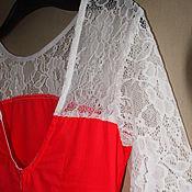 Одежда ручной работы. Ярмарка Мастеров - ручная работа Платье коралловое  с кружевами. Handmade.