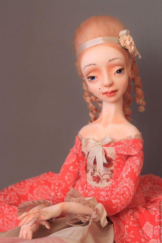 Коллекционные куклы ручной работы. Ярмарка Мастеров - ручная работа. Купить Будуарная кукла Каролина. Handmade. Коралловый, авторская кукла