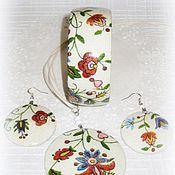 Украшения handmade. Livemaster - original item Grey set of bracelet, pendant and earrings Flowers on linen. Rustic. Handmade.