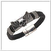 Украшения handmade. Livemaster - original item Men`s leather bracelet No. 18 accessories steel 316L. Handmade.