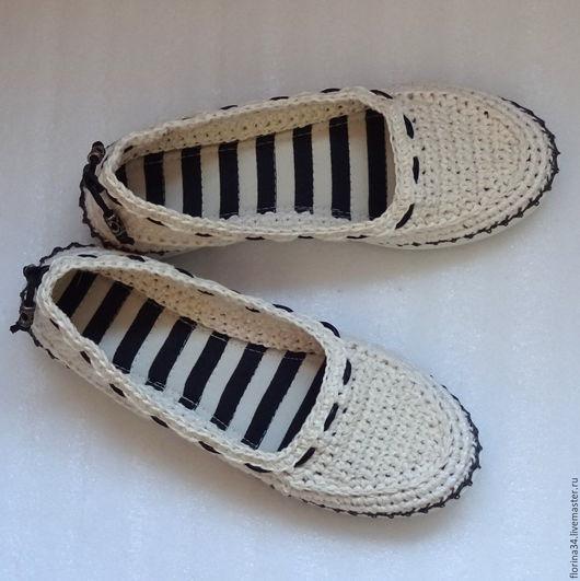 Обувь ручной работы. Ярмарка Мастеров - ручная работа. Купить Балетки уличные Белый лен р.39. Handmade.