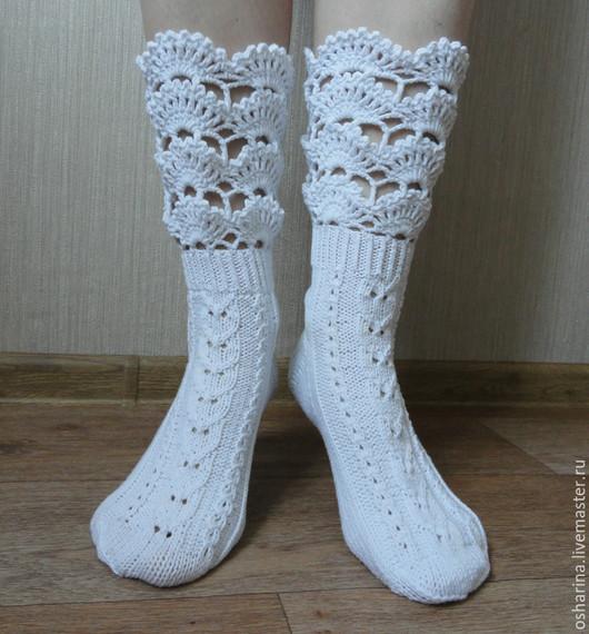 """Носки, Чулки ручной работы. Ярмарка Мастеров - ручная работа. Купить Носки для души """"White"""". Handmade. Белый"""