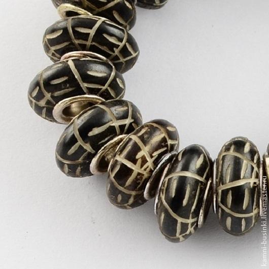 Бусины из кости 15 мм черные этнические рондель. Костяные Бусины для колье, бусины из кости для браслетов, бусина рондель из кости для серег.