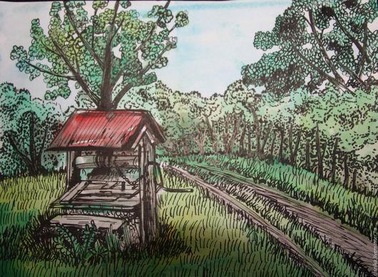 Пейзаж ручной работы. Ярмарка Мастеров - ручная работа. Купить Весенняя дорога. Handmade. Зеленый, акварель, колодец, деревья
