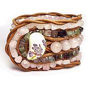 Украшения handmade. Livemaster - original item Stone beaded bracelet: Rose Quarz & Fluorite. 5 row wrap bracelet. Handmade.