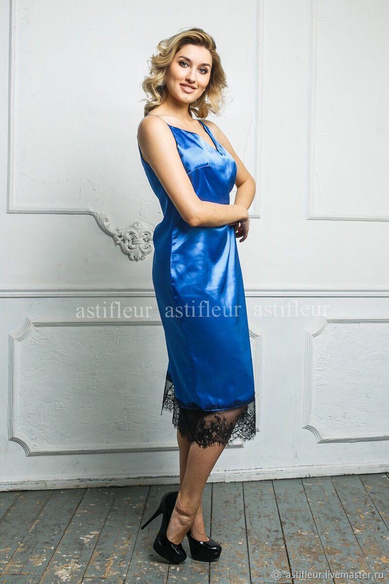 11f444368ad Платье комбинация с кружевом синее – купить в интернет-магазине на ...