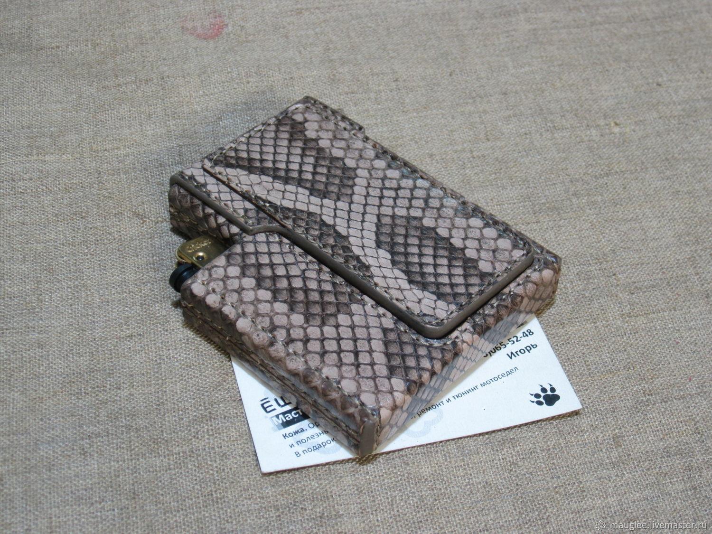 Python skin cigarette case. Slims.  Thin cigarettes and lighter, Cigarette cases, Nizhnij Tagil,  Фото №1