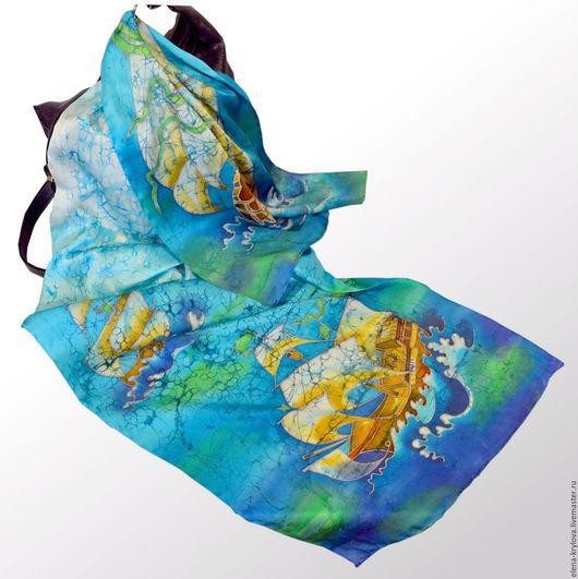 Шарфы и шарфики ручной работы. Ярмарка Мастеров - ручная работа. Купить шелковый шарф батик Золотые паруса. Handmade. Бирюзовый