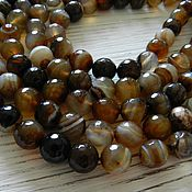 Материалы для творчества handmade. Livemaster - original item Onyx faceted beads 10mm brown striped (art. 1975). Handmade.