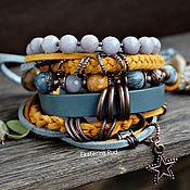 Украшения handmade. Livemaster - original item Mustard boho-chic bracelet with Jasper and agate