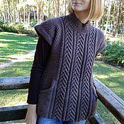 handmade. Livemaster - original item Women`s knitted vest (jumper tank top) brown fashion 2021. Handmade.