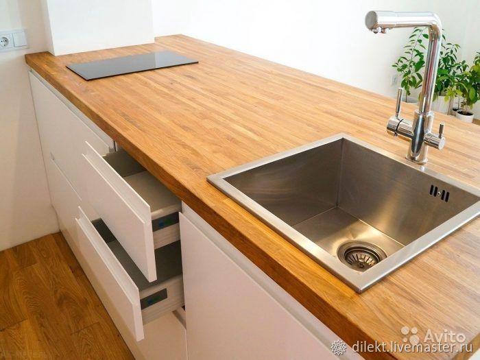 Дубовая столешница для кухни с вырезами под раковину и плиту, Мебель для ванной, Москва,  Фото №1