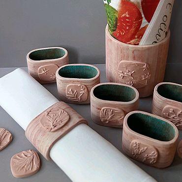 Для дома и интерьера ручной работы. Ярмарка Мастеров - ручная работа Набор для сервировки стола (кольца для льняных салфеток и салфетница). Handmade.