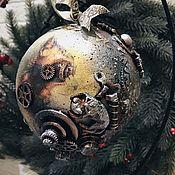 Подарки к праздникам handmade. Livemaster - original item Steampunk Cat, a large Christmas ball (15 cm). Handmade.