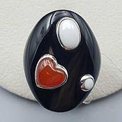 Украшения handmade. Livemaster - original item Silver ring with black and white onyx and agate. Handmade.