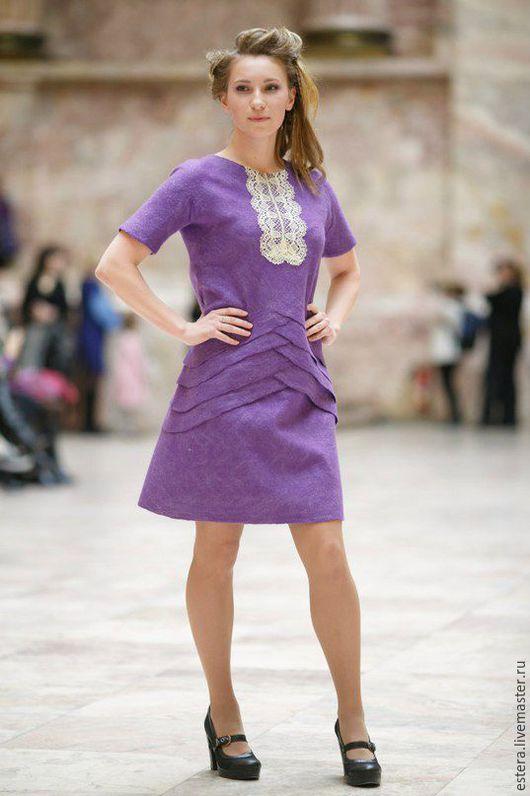 """Платья ручной работы. Ярмарка Мастеров - ручная работа. Купить Платье """"Аметист"""" валяное. Handmade. Фиолетовый, валяное платье"""