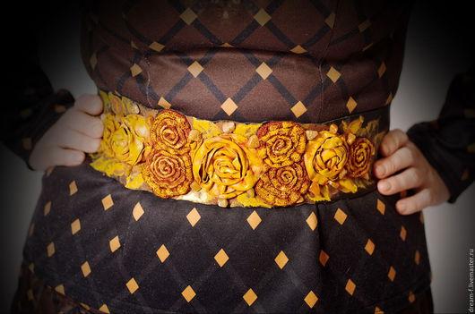 """Пояса, ремни ручной работы. Ярмарка Мастеров - ручная работа. Купить Пояс """"Изобилие"""". Handmade. Золотой, пояс женский"""