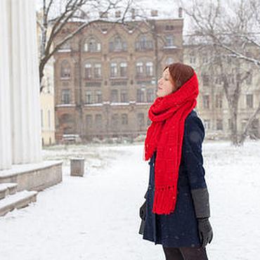 Аксессуары ручной работы. Ярмарка Мастеров - ручная работа Красный шарф с кисточками. Handmade.